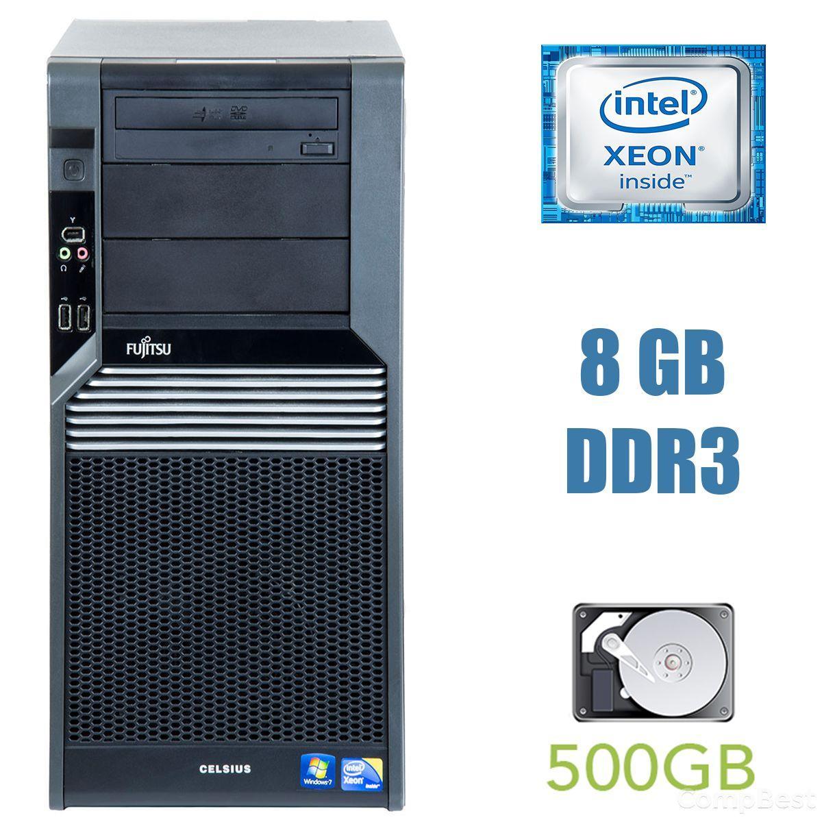 Fujitsu Celsius M470 MT / Intel Xeon W3520 (4 (8) ядра по 2.66-2.93 GHz) / 24 GB DDR3 / 512 GB SSD