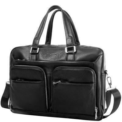 Кожаная мужская сумка с карманом для ноутбука  VITO TORELLI (ВИТО ТОРЕЛЛИ) VT-6338-black, фото 2