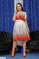 Легкое женское платье-миди под пояс, размеры 48-50, 52-54, 56-58, 60-62