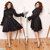Стильное платье, пояс с сумочкой батал, размеры 48-50, 52-54, 56-58