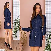 Модное джинсовое платье-рубашка под пояс, размеры S, M, L, XL