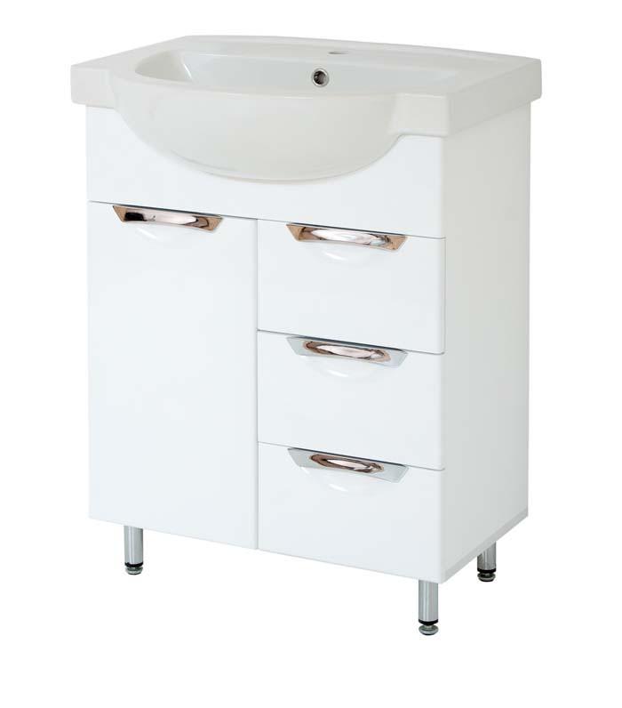 Тумба под раковину для ванной комнаты Альвеус 65-12 Врезная Ручка с умывальником Акцент 65 ПИК