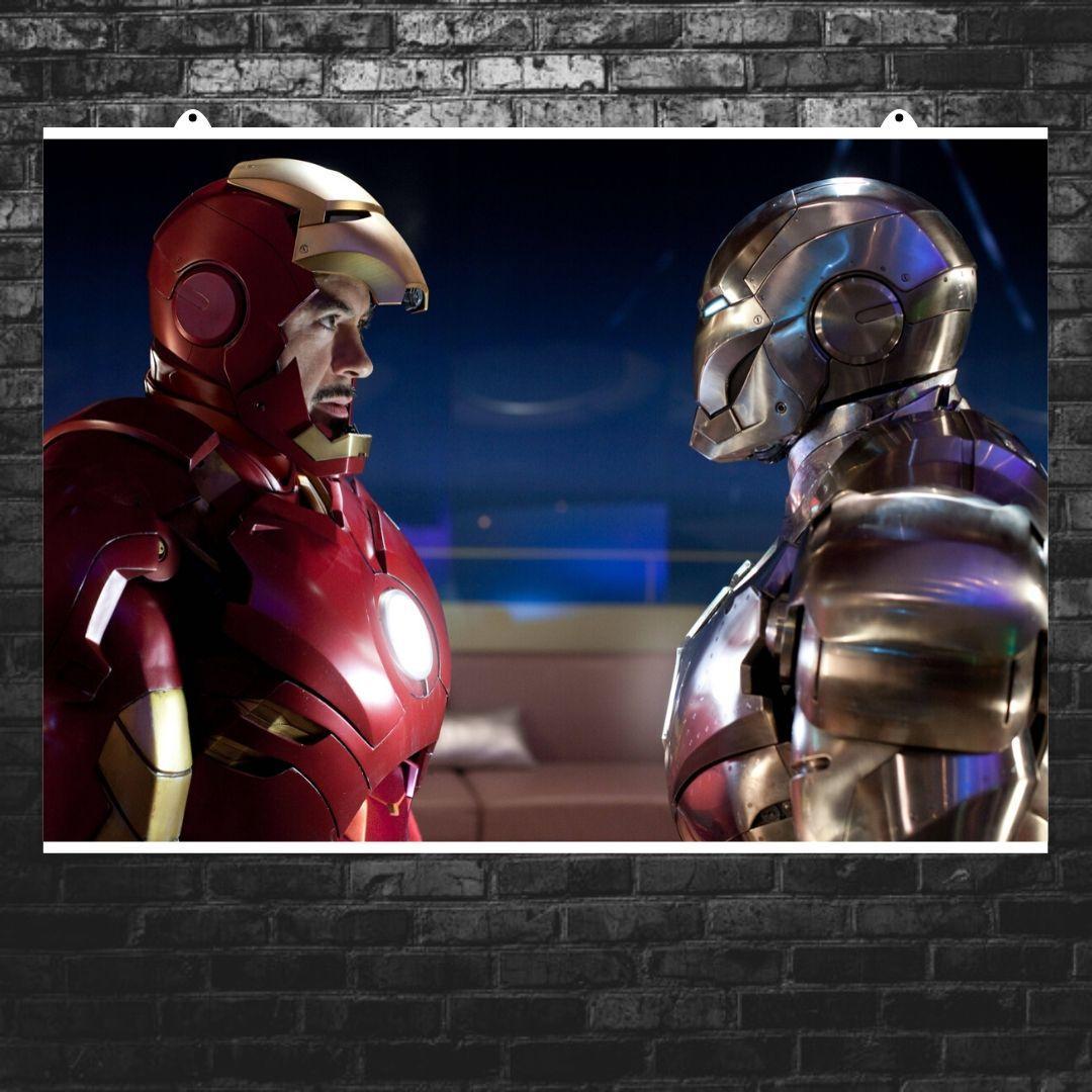 """Постер """"Железный Человек и Воитель"""". Iron Man, WarMachine. Размер 60x42см (A2). Глянцевая бумага"""