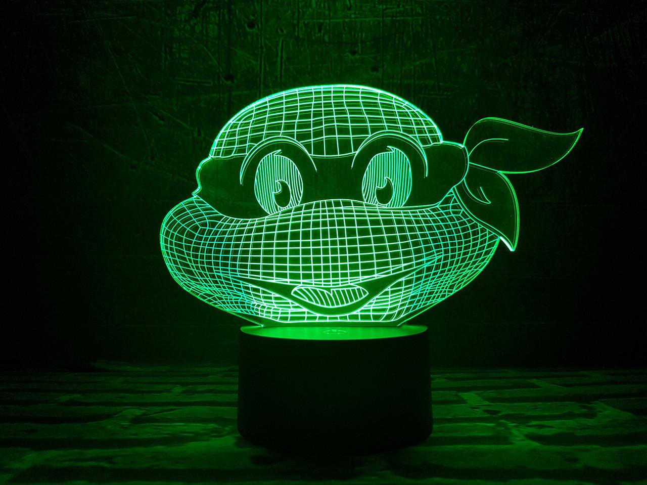 """Сменная пластина для 3D ночника """"Черепашка ниндзя 1"""" 3DTOYSLAMP"""