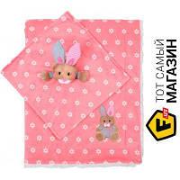Плед для новорожденных 100 x 75 см - облегченное - полиэфирное волокно Babyono Minky. Зайчик 75x100см, розовый (1412/01) розовый