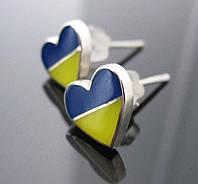 Сережки сердечки гвоздики флаг Украины , фото 1