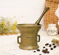 Старая бронзовая ступа, ступка для специй, с пестиком, бронза, Германия, фото 1