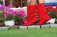 Полусапожки женские  красные.  Арт-0259, фото 1