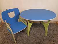 Стульчик Мишка(с подлокотником) и овальный столик детские из фанеры (дерево), конструкт.