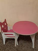Стульчик Кошка(с подлокотником) и овальный столик детские из фанеры (дерево), конструкт.
