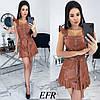 Сукня жіноча з еко-шкіри (3 кольори) ЕФ/-491 - Коричневий