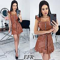 Платье женское из эко-кожи (3 цвета) ЕФ/-491 - Коричневый, фото 1