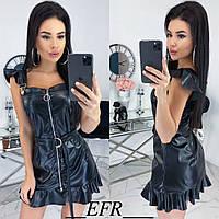 Платье женское из эко-кожи (3 цвета) ЕФ/-491 - Черный, фото 1