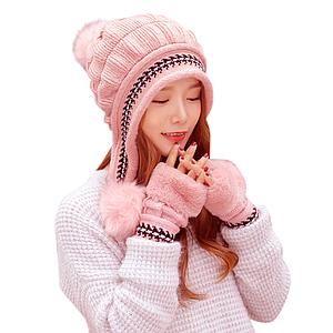 Женская зимняя шапка с перчатками Veno белая Розовый