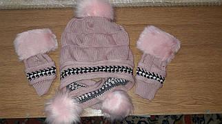 Женская зимняя шапка с перчатками Veno белая Розово-коричневый