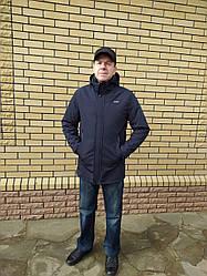 Чоловічі демісезонні подовжені куртки з капюшоном розміри 50-60