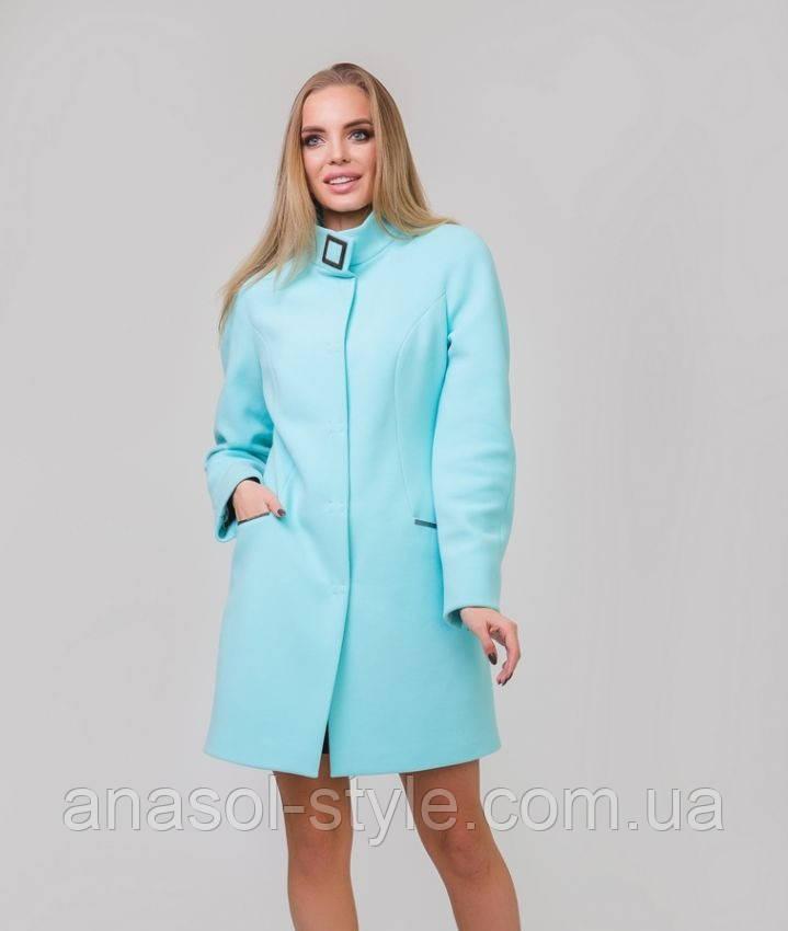 Короткий жіноче пальто з поясом на стійку м'ята