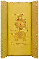 Пеленальный матрас Maltex мягкий 50х80 см  слон, лев, птичка, желтый