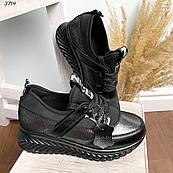 38 р. Кроссовки женские черные кожаные на подошве