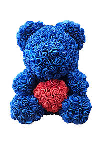 Мишка из роз 40см- Синий