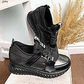 39 р. Кроссовки женские черные кожаные на подошве
