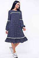 Романтичное платье Шерил в стиле бохо с воланом в горох 42-52 размеры синее