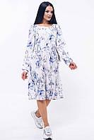 Романтичное платье Шейла с цветочным принтом в стиле бохо 42-52 размеры синее
