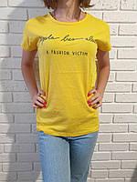 Футболка молодежная коттоновая для девушекразмер норма 44-48, желтого цвета