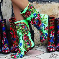 Сапожки женские в стиле платок матрешка.  Арт-0271