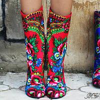 Сапожки женские в стиле платок матрешка.  Арт-0273