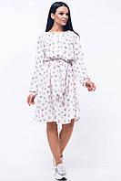 Романтичное платье Шейла с принтом в стиле бохо 42-52 размеры белое