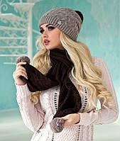 Зимний женский комплект «Стефани» (шапка и шарф)