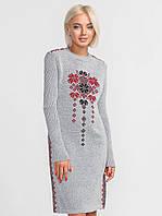 Трикотажное платье-туника. Платье с вышивкой. Женская одежда РАЗНЫЕ ЦВЕТА