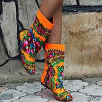 Сапожки женские в стиле платок матрешка.  Арт-0276