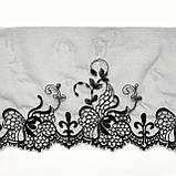 Ажурное кружево вышивка на сетке, черного цвета, ширина 20 см, фото 4