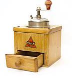 Старая немецкая ручная кофемолка, деревянный корпус, стальной механизм, Германия, Mocca geschmiedetes Mahlwerk, фото 6
