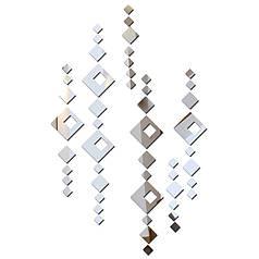 Зеркальные наклейки ромбы квадраты от 2,5см до 8см пластиковые, 51шт набор