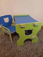 Стульчик Мишка(с подлокотником) и парта- столик детские из фанеры (дерево), конструкт.