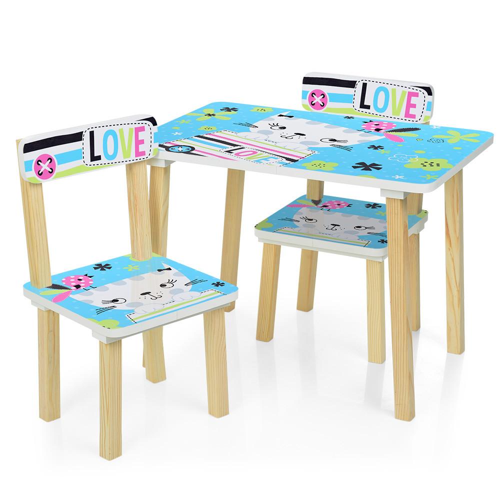 Детский стол с двумя стульчиками Bambi 501-58-2 Голубая кошка ***