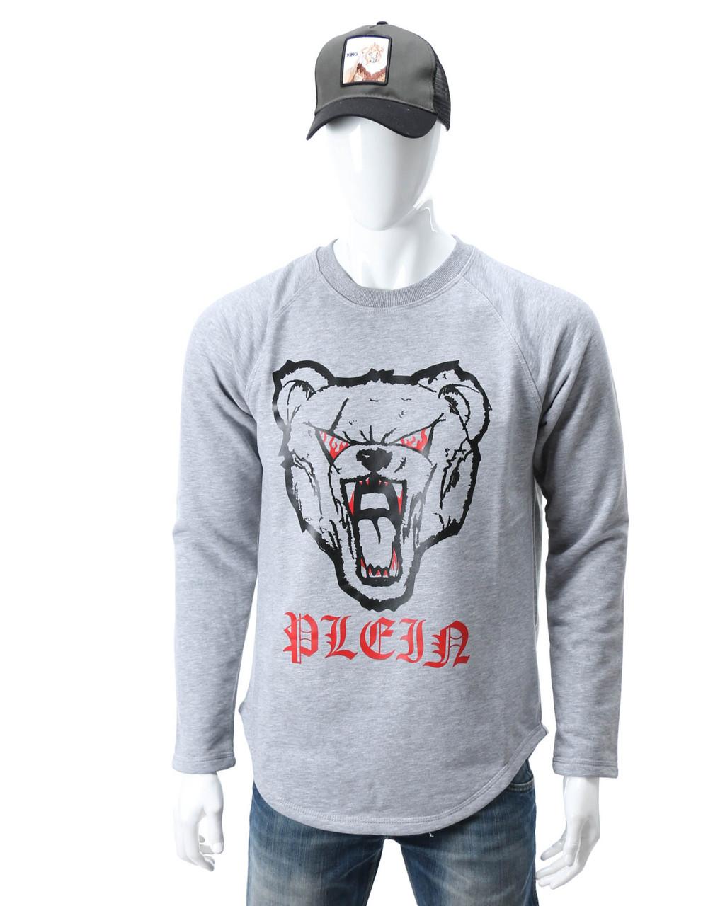 Свитшот меланж PHILIPP PLEIN с принтом Медведь злой №2 Р-2 GRI L(Р) 20-544-201