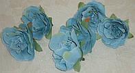 Головка розы маленькая бирюзового винтажного цвета