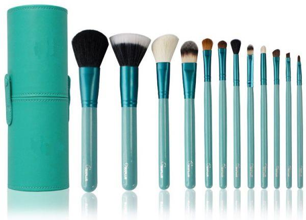 Набор кистей для макияжа на 12 шт в тубусе цвет бирюзовый