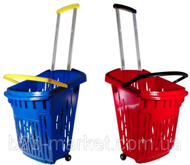 Корзина покупця 38л Синя на колесах