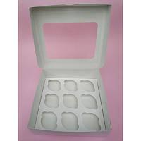 Коробка на 9 капкейков с прямоугольным окошком, 240*250*90