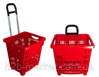 Корзина покупця 55л Червона на колесах