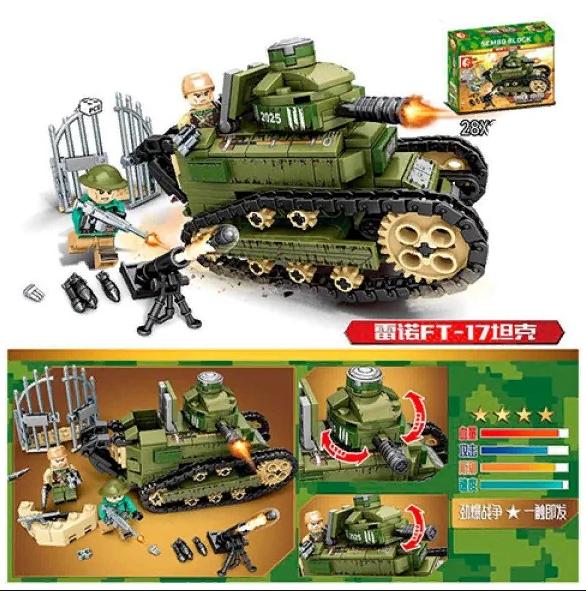Конструктор Sembo Block Военный танк 368 деталей