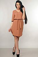 Красивое платье прямого кроя Лагуна с поясом и чокером 42-52 размеры карамельное