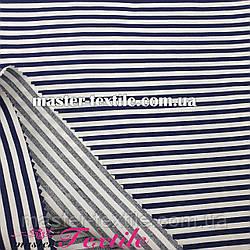 Сорочкова тканина смужка 4 мм (темно синій/ білий)