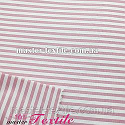 Сорочкова тканина смужка 4 мм (рожева /біла)