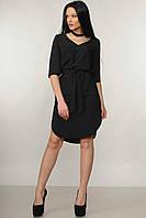 Красивое платье прямого кроя Лагуна с поясом и чокером 42-52 размеры черное